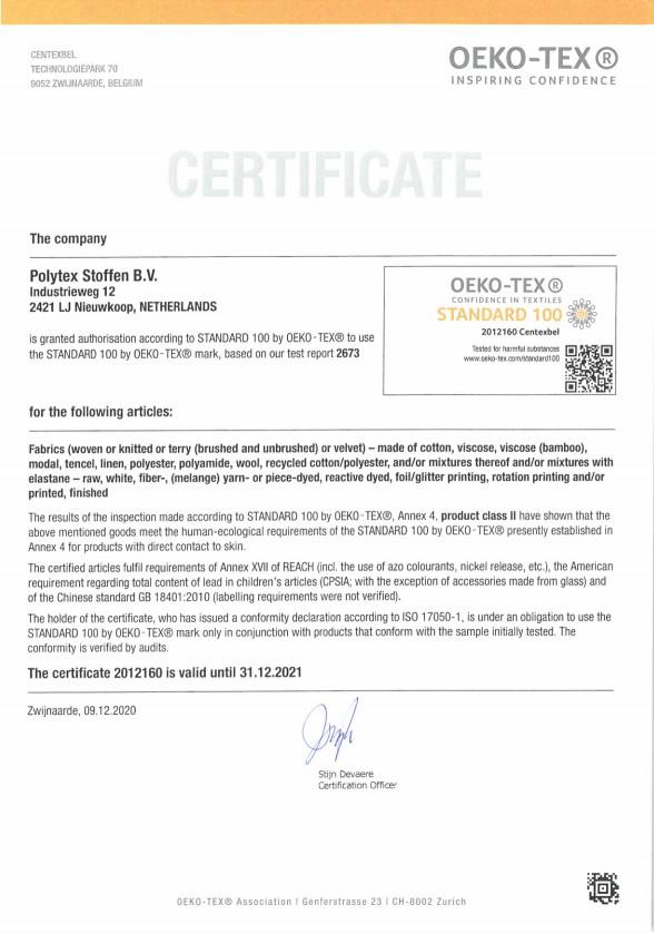 Oeko-Tex Standaard 100 Polytex Stoffen